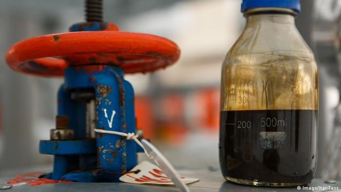 An oil sample taken at the central oil refinery at Sorovskoye field