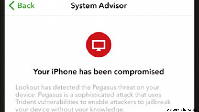 Spionage-Software | Screeenshot einer iPhone-Bildschirmanzeige (picture-alliance/dpa)