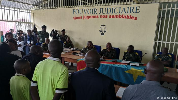 Scene from the trial in Goma