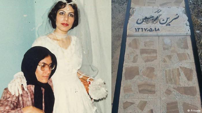 نسرین رجبی (نشسته در عکس) یکی از قربانیان کشتار ۶۷ بود. مقامهای ایران سال ۶۸ در جوابیهای به نماینده حقوق بشر سازمان ملل قتل او را انکار کردند. اما طاهره خرمی (ایستاده) به سازمان عفو بینالملل گفته او و نسرین رجبی هر دو به اتهام حمایت از مجاهدین خلق در اوایل دهه ۶۰ در ایلام زندانی شده بودند. مقامهای امنیتی محل یک گور جمعی را که پیکر نسرین رجبی در آن دفن شده بود، به خانوادهاش اطلاع داده بودند.
