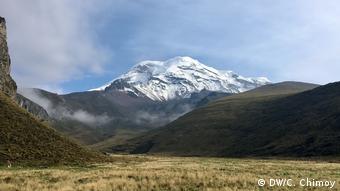 Montanha coberta de neve ao fundo, com montanhas cobertas de capim à frente