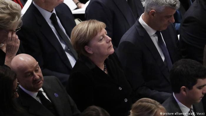 Merkel também esteve no funeral de Bush