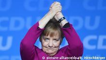 ARCHIV - 26.02.2018, Berlin: Bundeskanzlerin Angela Merkel (CDU) bedankt sich für den Applaus nach ihrer Rede beim 30. Parteitag der Christlich Demokratischen Union Deutschlands (CDU). (zu dpa «Forbes» kürt Merkel abermals zur mächtigsten Frau des Jahres am 05.12.2018) Foto: Ralf Hirschberger/dpa +++ dpa-Bildfunk +++   Verwendung weltweit
