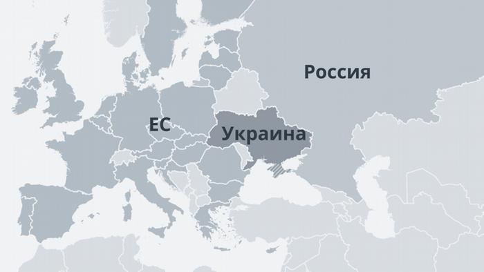 Карта с изображением Украины, России и ЕС
