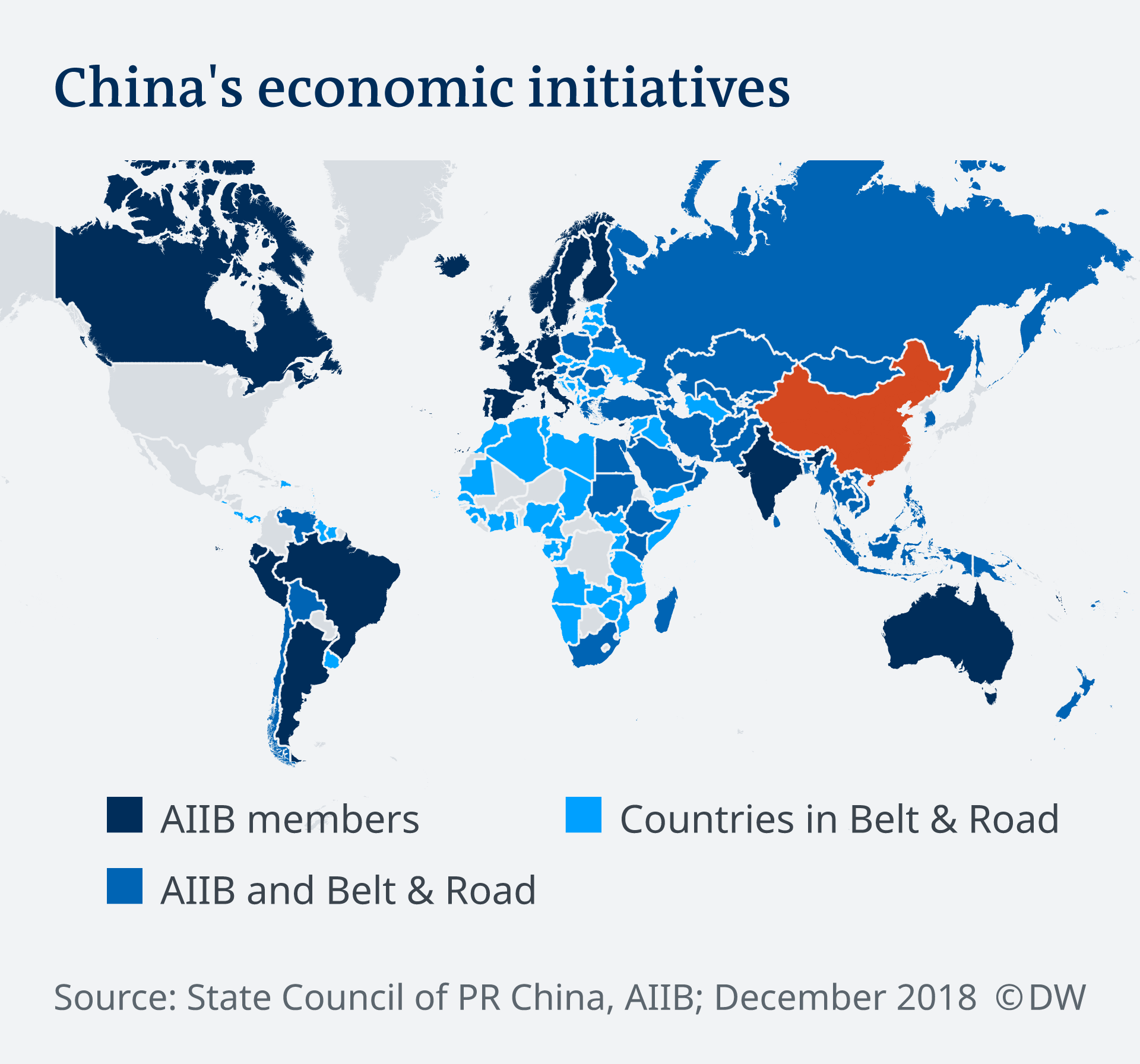 Infographic showing the reach of China's economic initiatives