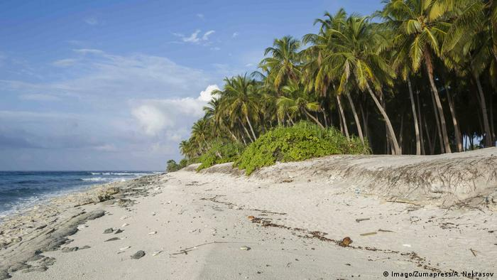 Palm beach on the Fuvahmulah Atoll in the Maldives (photo: Imago)