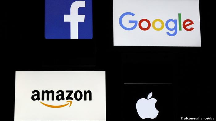 Logos Facebook, Google, Amazon und Apple