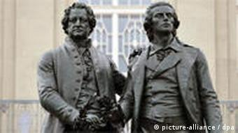 A Weimar monument shows poet Schiller with fellow dramatist Goethe