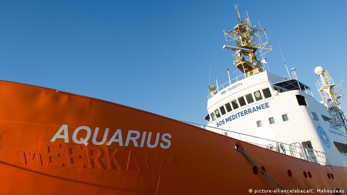 Frankreich 2016 Rettungsboot Aquarius im Hafen von Marseille (picture-alliance/abaca/C. Mahoudeau)