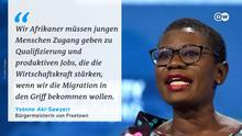Zitattafel Yvonne Aki-Sawyerr Bürgermeisterin von Freetown