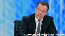 06.12.2018+++ Russian Prime Minister Dmitry Medvedev speaks during a live interview on the annual results of the government work to journalists of Russia's major television channels at the Ostankino television center in Moscow on December 6, 2018. (Photo by Alexander ASTAFYEV / SPUTNIK / AFP) (Photo credit should read ALEXANDER ASTAFYEV/AFP/Getty Images)