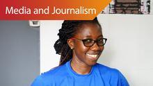 Precious Ankomah, program manager bei penplusbytes in Accra, Ghana (DW/J. Endert)