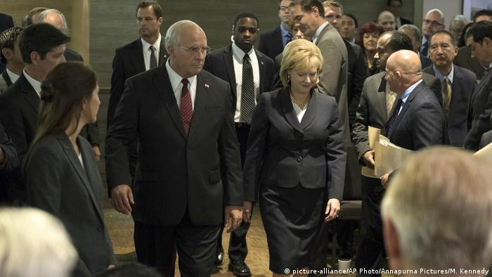 This image released by Annapurna Pictures shows Christian Bale as Dick Cheney, left, and Amy Adams as Lynne Cheney