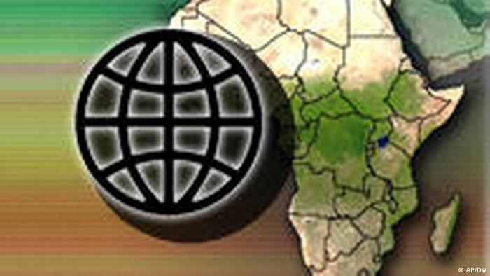 Symbolbild Weltbank Logo und Afrika Karte