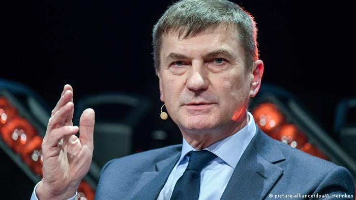 EU Technology Commissioner Andrus Ansip speaks at an event in Hamburg, Germany