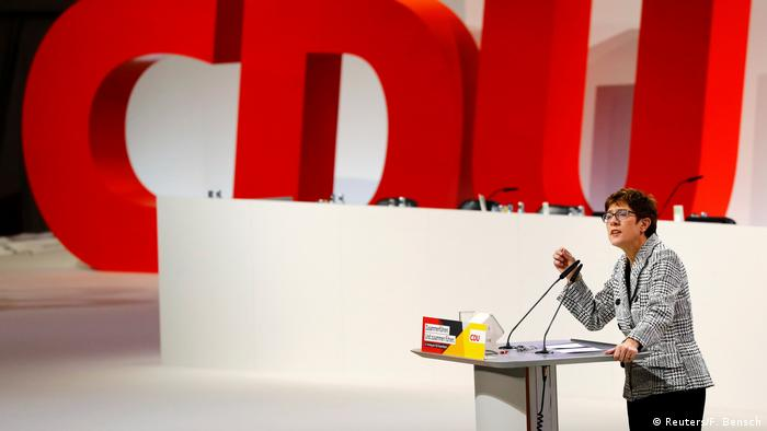 Annegret Kramp-Karrenbauer delivers a speech at the Christian Democratic Union (CDU) party congress in Hamburg