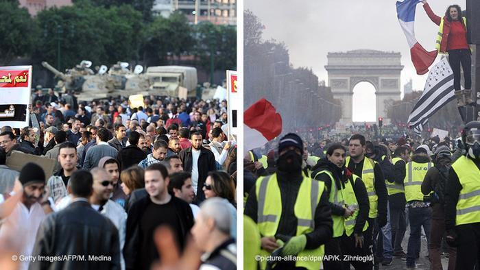 Kombobild - Tahrir Plazt Proteste & Gelbwestenproteste in Frankreich