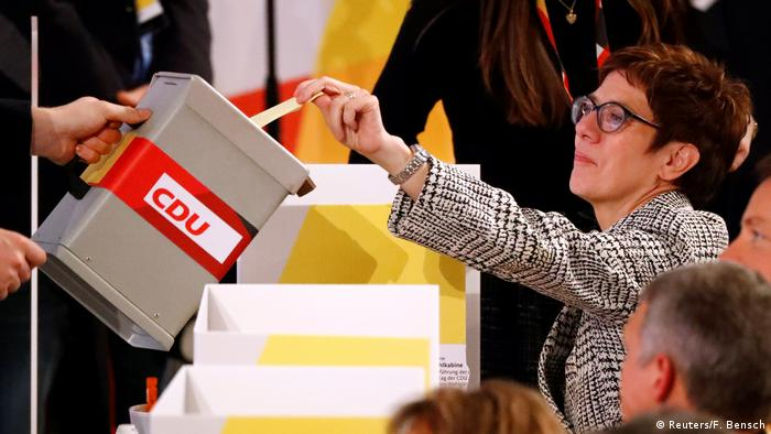 Candidate for the party chair Annegret Kramp-Karrenbauer casts her ballot during voting at the Christian Democratic Union (CDU) party congress in Hamburg, Germany, December 7, 2018.