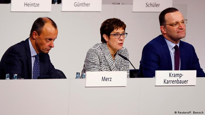 Deutschland CDU-Parteitag in Hamburg Kramp-Karrenbauer, Merz und Spahn
