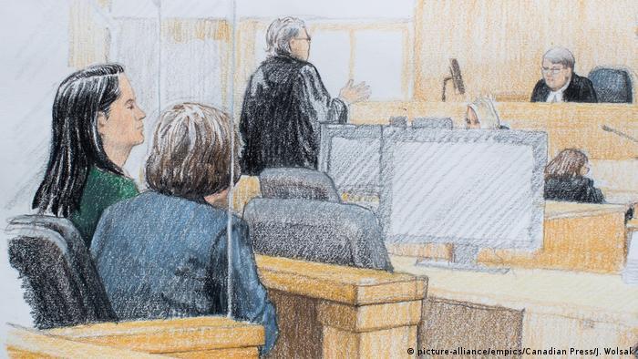 Kanada Anhörung Meng Wanzhou, Huawei | Skizze aus dem Gericht (picture-alliance/empics/Canadian Press/J. Wolsak)