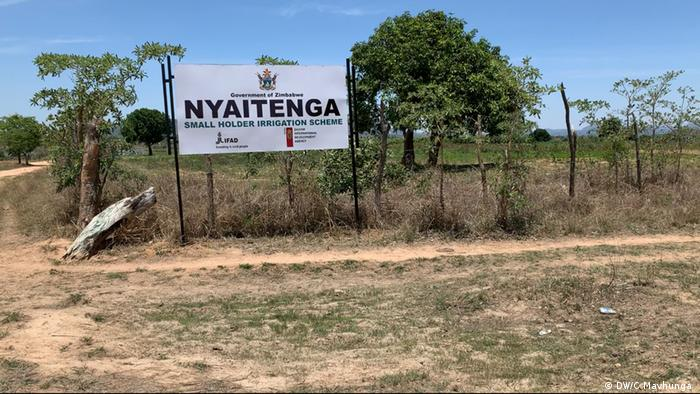 A sign in Zimbabwe showing the entrance to a farm utilizing a small holder irrigation scheme