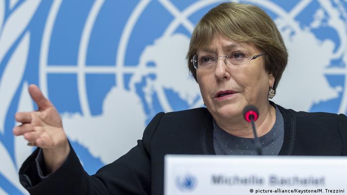 Michelle Bachelet spricht zum 70. Jahrestag der Erklärung der Menschenrechte (picture-alliance/Keystone/M. Trezzini)