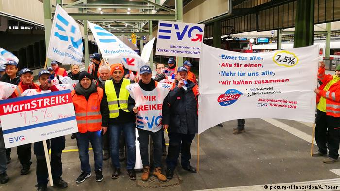 EVG union workers with placards