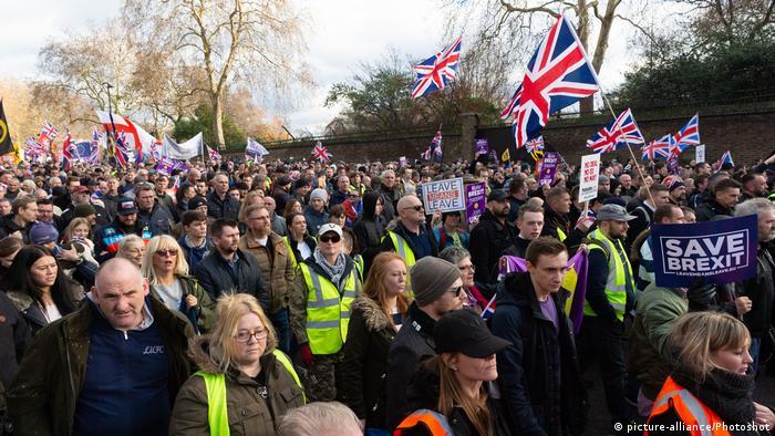 Protestas a favor del brexit en Gran Bretaña.