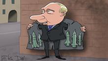 Karikatur von Sergey Elkin zu - Waffenexporten