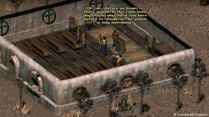"Screenshot from the videogame Fallout 2"": a wedding ceremony (Youtube/adrikklassen)"