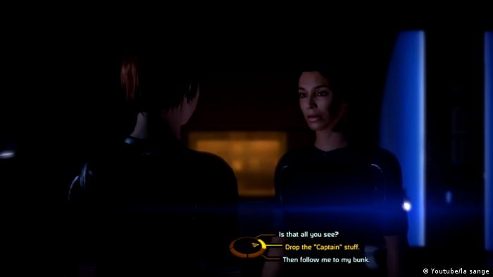 "Screenshot from the videogame Mass Effect"", two women talking (Youtube/la sange)"