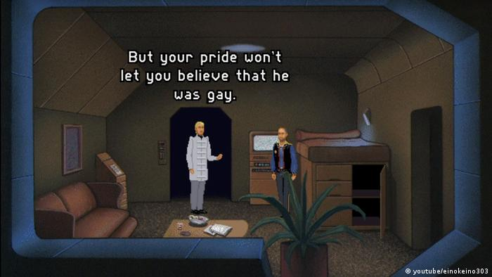 "Screenshot from the video game The Orion Conspiracy"", two men chatting in a room. (youtube/einokeino303)"