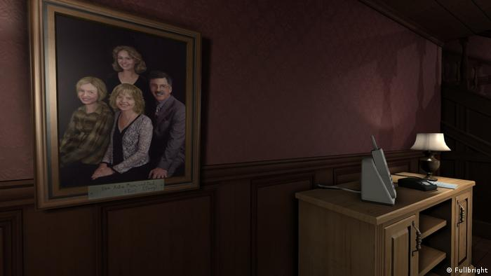 "Screenshot from the videogame Gone Home"" a desk, and a dark red wall with a family portrait (Fullbright)"