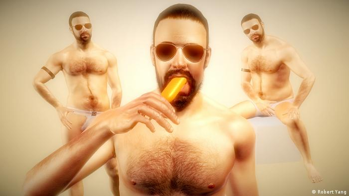"Screenshot from the videogame Radiator 2"" three men in underwear with sunglasses. The one at the front licks an ice lolly. (Robert Yang)"