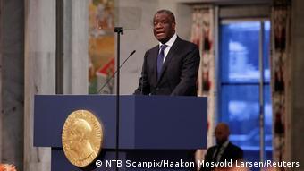 Daktari Denis Mukwege akitoa shukurani kwa kutunukiwa tuzo ya amani ya Nobel