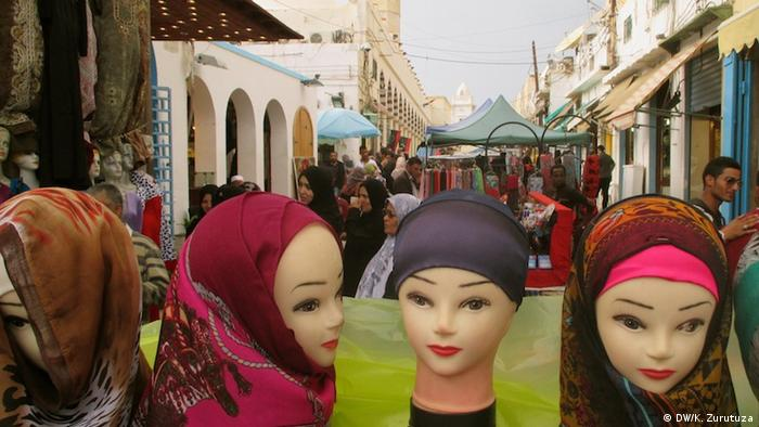 Female mannequins in a street market in Tripoli's old town