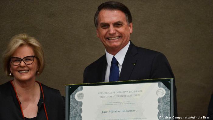 Jair Bolsonaro ao lado de Rosa Weber