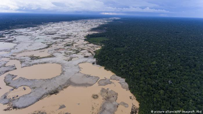 A deforested area from illegal gold mining activities in Peru's Amazon