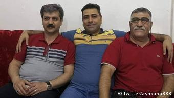 Reza Shahabi, Esmail Bakhshi und Ali Nejati, iranischer Gewerkschaftsaktivisten (twitter/ashkana888)