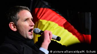 Björn Höcke shouting into a microphone, a German national flag waving in the background