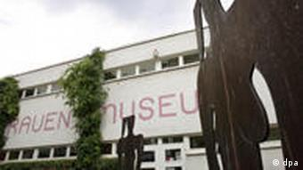 Exterior of Frauenmuseum in Bonn with female sculptures outside