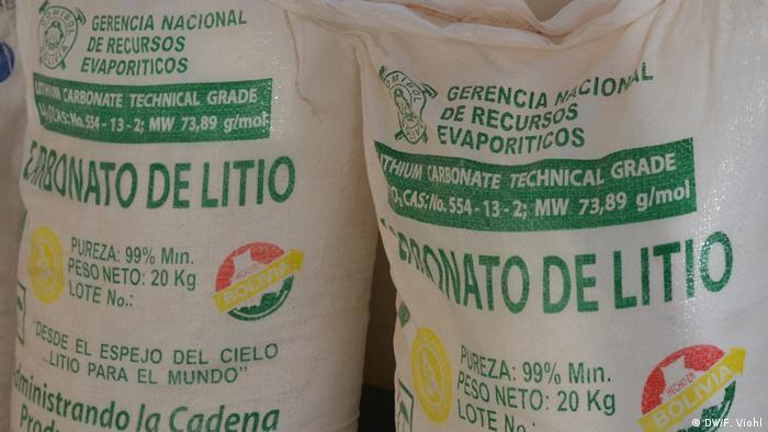 Sacos de carbonato de lítio boliviano