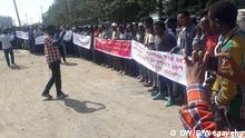 Demonstration der Gemeinde Mareko in Hawassa in Äthiopien
