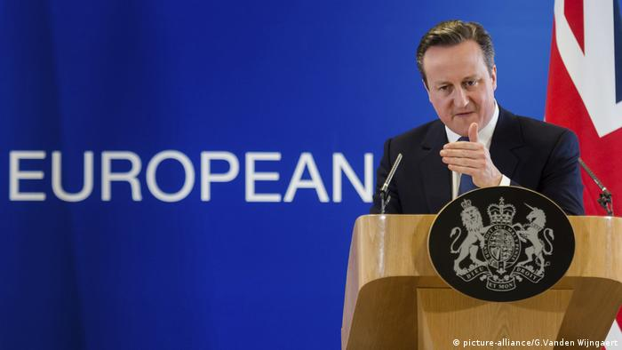 David Cameron gives a speech from a lecturn during the EU referendum campaign