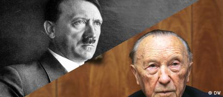 Коллаж со снимками лиц Гитлера и Конрада Аденауэра