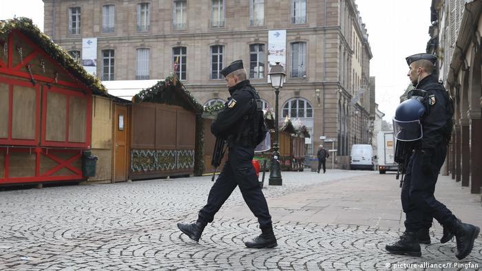 Policemen patrol in the center of Strasbourg