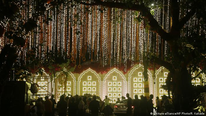 A street is lit up outside the house of Reliance Industries Chairman Mukesh Ambani