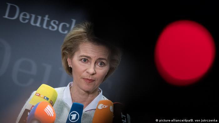 Defense Minister Ursula von der Leyen speaks with reporters
