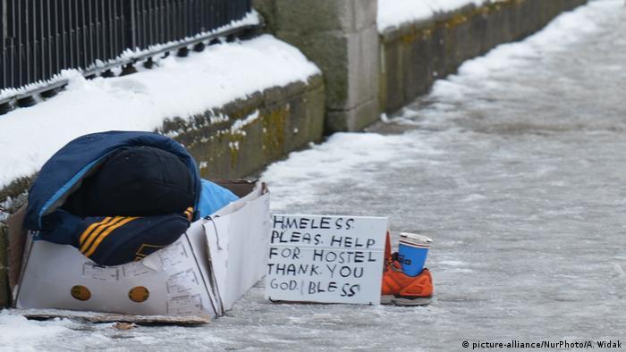 A homeless man on a street in Dublin