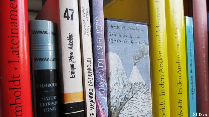 A shelf full of books on Alexander von Humboldt - photo by Timothy A. Rooks